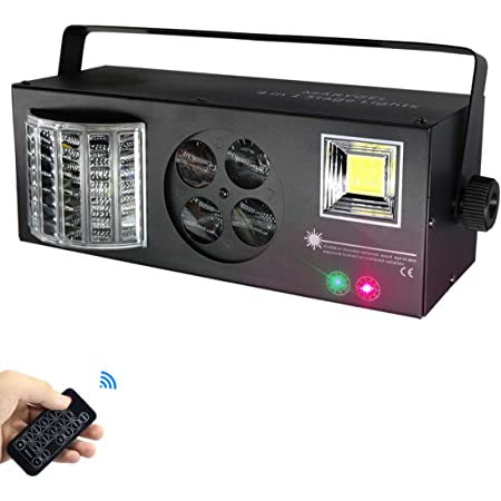 Stage Lights,MARYGEL 4 in 1 Mixed Effect Sound Activated RGBW LED Pattern Lights Strobe Light By Remote and DMX Control for DJ Club Disco Party Wedding Birthday Christmas(Black)