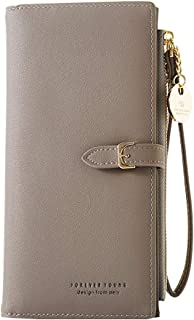 Women Wallet with Wrist Strap, Aeeque Clutch Purse for Women, Ladies Handbag Leather Travel Cell Phone Bag [11 Card Slots, 1 ID Window, 3 Compartments] Coins Organizer Zipper Pocket, Grey