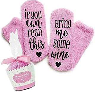 Wine Socks With Cupcake Gift Packaging For Women If You Can Read This Bring Me Some Wine