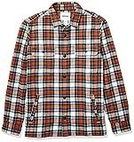 Marca Amazon - Goodthreads - Chaqueta de estilo camisa de franela muy resistente para hombre, Naranja (Rust White Tartan Plaid), (Talla del fabricante: Large)