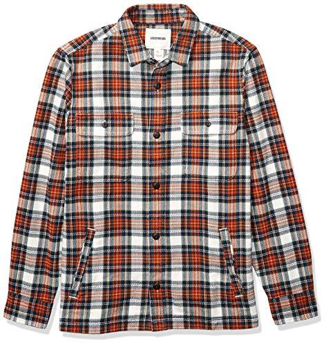Marchio Amazon - Goodthreads, camicia/giacca da uomo, in flanella pesante, Arancione (Rust White Tartan Plaid), (Taglia Produttore: X-Large)