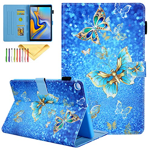 SM-T500 Case 2020 Galaxy Tab A7 10.4 Inch Cover, Uliking Slim Lightweight Cases and Covers with Card Slots Kickstand Case Kids for Samsung Galaxy Tab A7 10.4 2020, Blue Gold Butterfly