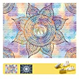 FHSQX Art Handicrafts Hippie Mandala Tapestry Wall Hanging, Tapestries Hanging for Decor Bedroom Dorm Bedspread Picnic Blanket Matching Multi Style and 3 Size (Purple, M:W 59.1'H 51.2')