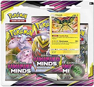 Pokemon TCG: Sun & Moon Unified Minds, Blister Pack Containing 3 Booster Packs and Featuring Promo Card Vikavolt
