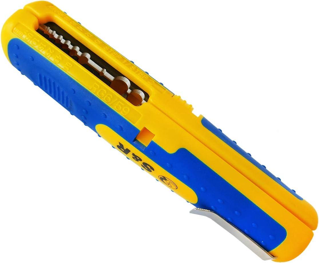 S&R Pelacables de precisión, herramienta pelacables universal, para cables AWG 10–20, SAT/RG6 y RG59, Cables de bajo voltaje de 8 – 13 mm