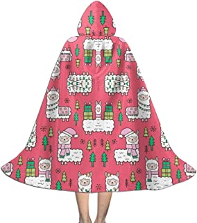 Holidays Christmas Llamas On Red Wallpaper (8130) Kids Hooded Cloak Cape for Christmas Halloween Cosplay Costumes