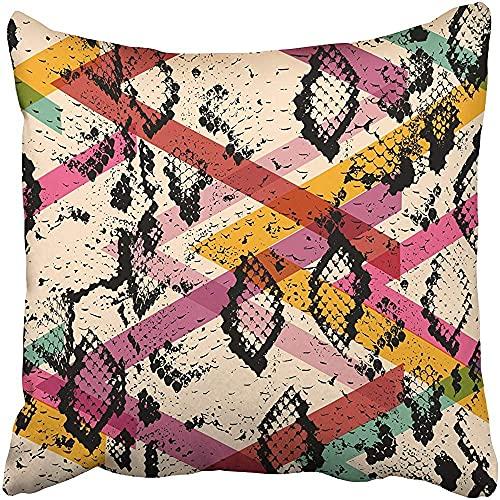 Throw Pillow Cover Poliéster 18X18 Pulgadas Piel de Serpiente Negro Magenta Naranja Rosa Púrpura Azul Geo Étnico Moderno Geométrico Abstracto