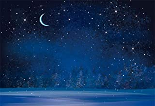 Yeele 12x8ft Winter Night Snowfall Snowflake Photography Backdrops Starry Sky Moon Blurry Fir Trees Pine Forest Background Merry Christmas Happy New Year Party Banner Decoration Studio Props