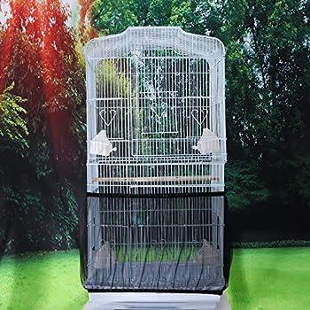 UEETEK Housse pour Cage Oiseaux Maille Couverture Protection Cage Oiseaux Perruches Canaris Attrape Graine Noir Taille S
