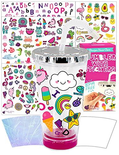 Purple Ladybug Crea Il Tuo Bicchiere Bambino con Stickers Impermeabili – Bicchieri Plastica da Decorare con Cannuccia e Coperchio! Giochi per Bambini Creativi – Il Regalo Bimba Perfetto