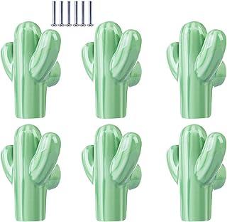Yavso Bouton de Meuble Enfant, Lot de 6 Cactus Poignées de Meuble Ceramique Boutons de Porte pour Chambre d'enfant