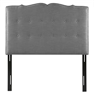 Madison Park Sadie Upholstered Nail Head Button Tufted Scrollwork Headboard Modern Contemporary Metal Legs Padded Bedroom Décor Accent, Queen, Grey