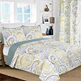 All American Collection New 3pc Yellow/Grey Paisley Printed Reversible Bedspread/Quilt Set Matching Curtains Available (King/Cal King Size, Yellow & Grey)