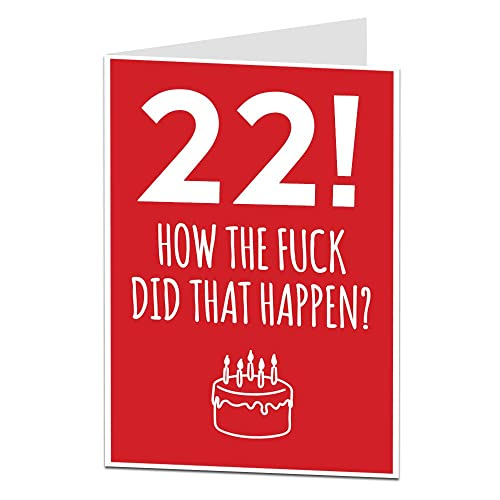 22nd Birthday Card For Him Her Perfect Friends Brothers Sisters Other Ages Available