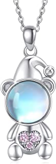 Moonstone Necklace 18K White Gold Plated 925 Sterling Silver Moonstone Bear Necklace Cute Animal Necklace for Girls Birthday