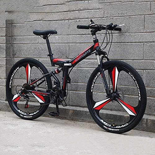 Bicicleta de montaña plegable 21/24/27 velocidades Cuadro de acero Ruedas de 26 pulgadas Ruedas de doble suspensión Bicicletas de suspensión total para hombres y mujeres-27 velocidades Negro