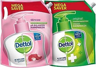 Dettol pH-Balanced Skincare Liquid Handwash Refill Super Saver Pack, 1500ml & Dettol Liquid Hand wash Refill Original -150...