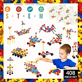 STEM Learning Toys for Boys and Girls Age 3 4 5 6 7, Crafty Connects Construction Building Set for Kids, Educational Childrens Birthday Gift; Creative Engineering Activities (408 Piece Set)