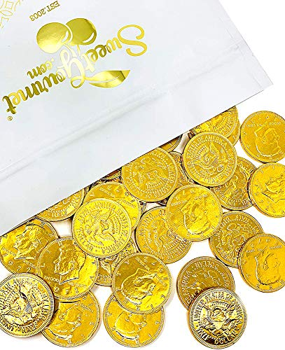 SweetGourmet Milk Chocolate Gold 50c Coins | Premium Belgian Chocolate | 2 Pounds Bag