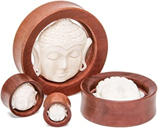 Elementals Organics Saba Wood Plugs for Ear– Carved Bone Buddha Ear Gauge Double Flared Hollow 1 PC