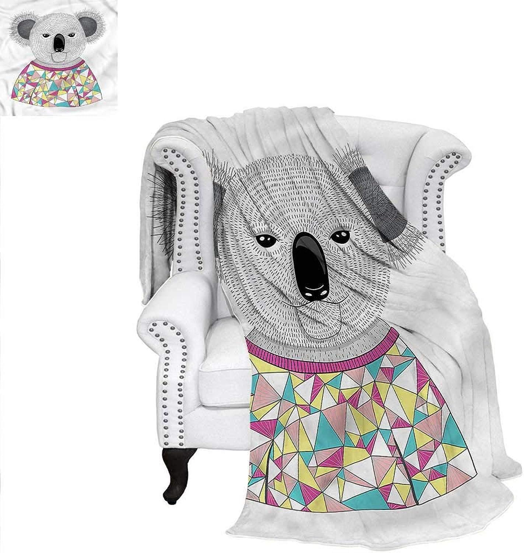 RenteriaDecor Koala Travel Throw Blanket Hipster Animal Shirt Weave PatternBlanket 60 x36
