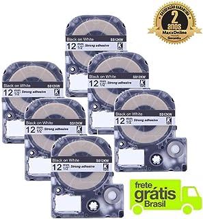 KIT COM 6 FITAS BRANCAS ROTULADOR EPSON LW300 LW400 COMPATÍVEL 12mm SS12KW LC4WBN