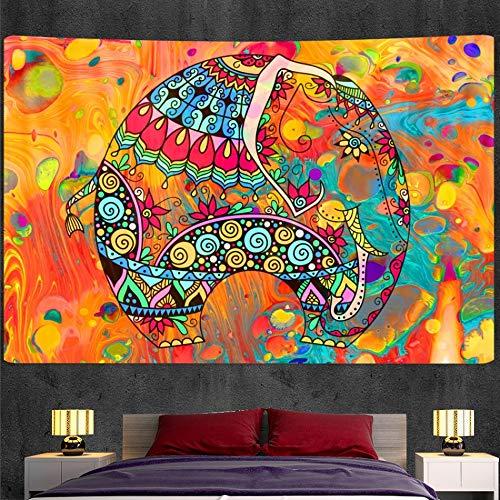KHKJ Tapiz de Elefante Indio Hippie Dormitorio decoración del hogar Tapiz Bohemio Decorativo Yoga colchón Hoja A6 200x150cm