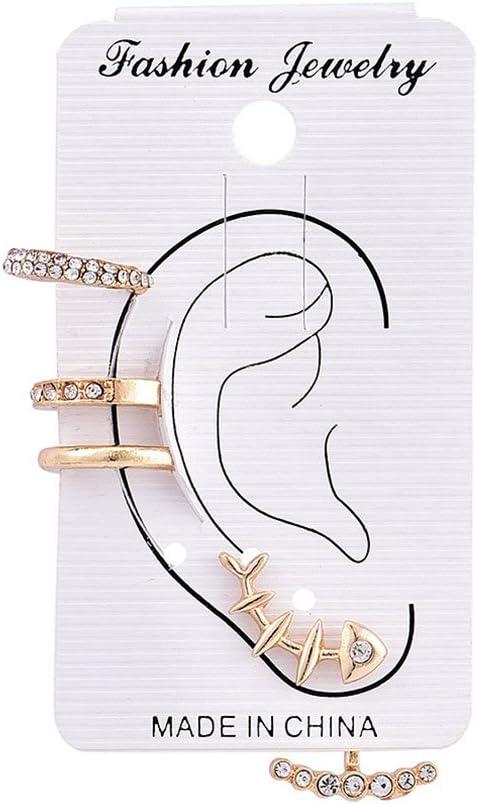 Eleusine Rhinestone Ear Cuff Wrap Earring Gold Piercing Ears Clips Branch Leaf Statement Clip Earring for Women