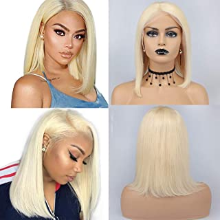 Leeven 613 Lace Front Wigs 13x4 Human Hair Lace Front Bob Wigs Pre plucked Short Cut 150% Density Blonde Remy Hair Wig 12 Inch Silky Straight Glueless Lace Frontal Wig for Black Women With Baby Hair