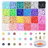 5040Pcs Polymer Clay Spacer Beads Flat Round, Vinyl Disc Beads 6mm with Elastic Cord and Jewelry Accessories for Jewelry Bracelets Making Supplies DIY Necklace Earring (28 Rainbow Colors)