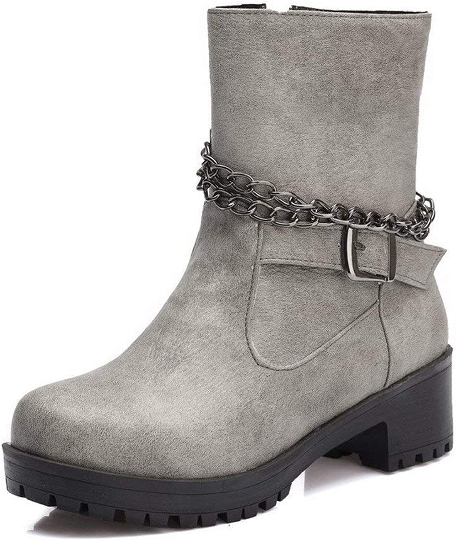 PRETTYHOMEL Women's Low-Top Zipper Soft Material Kitten-Heels Round Closed Toe Boots