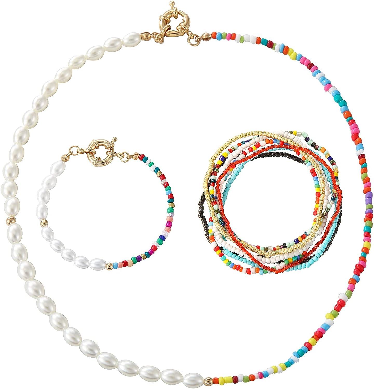 Bohemian Beaded Pearl Dainty Choker Necklaces Ankle Bracelets Set for Women Girls Jewelry Handmade Colorful Beaded Summer Beach Jewelry Set Bikini Jewelry
