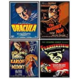 Dracula - The invisible Man - The Mummy - Frankenstein - Vintage Horror Monster Movie Poster Set - Home Theater Wall Art Decorations - Creepy Classic Scary Movie - Man Cave, Boys Bedroom, Teens Room