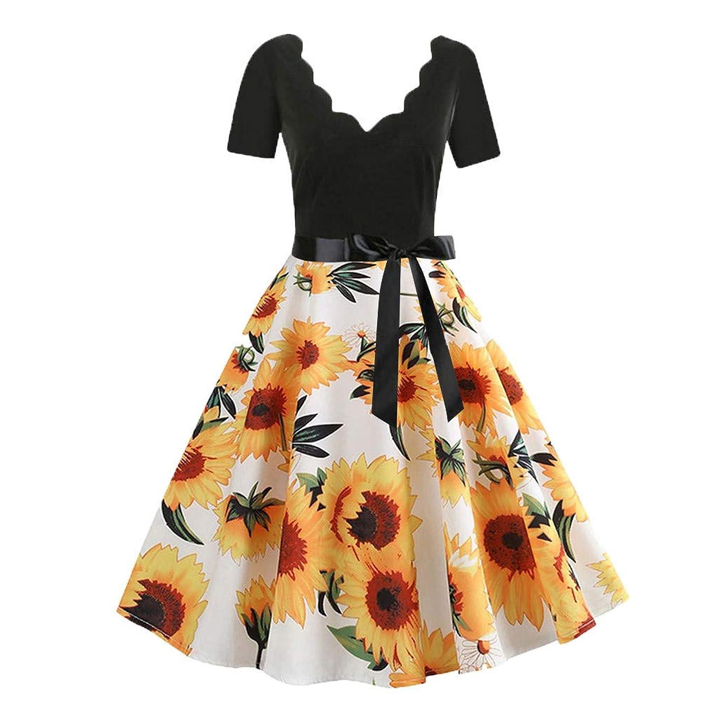 RoDeke Women's Summer Sunflower Floral Print V-Neck Backless Polka Dot Dress Short Sleeve Midi Party Dresses with Bow