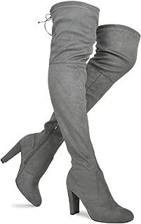 Premier Standard Women's Over The Knee Boot - Sexy Over The Knee Pullon Boot - Trendy Low Block Heel Shoe - Comfortable Boot