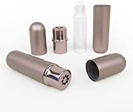 Mink Gray Aluminum and Glass Empty Essential Oil Personal Nasal Inhaler Refillable With Removable Bottle by Rivertree Life