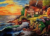クロスステッチキット DIY 手作り刺繍キット 海辺の風景ハーフクロスステッチ30x40cm マルチストランド綿糸ニットクロスステッチ刺繍キット
