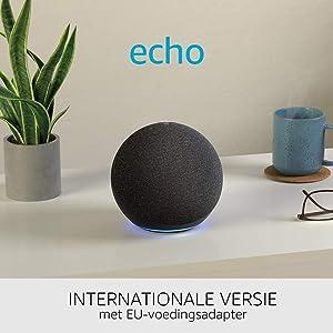 Echo (4e generatie) Internationale versie | Met premium sound, smart home hub en Alexa | Antraciet | Nederlandse taal niet beschikbaar