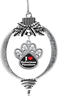 Inspired Silver - I Love Doberman Pinscher Charm Ornament - Silver Pave Paw Charm Holiday Ornaments with Cubic Zirconia Jewelry