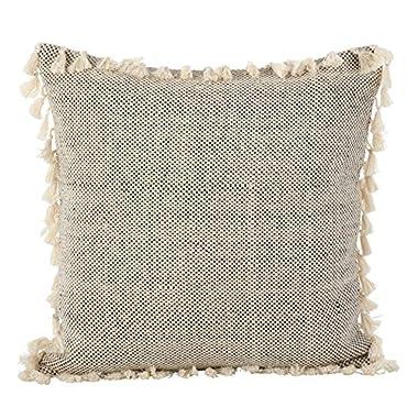 SARO LIFESTYLE Moroccan Design Tasseled Fringe Cotton Down Filled Throw Pillow, 20 , Ivory