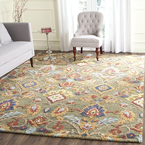 Safavieh Blossom Collection BLM402B Handmade Green and Multi Premium Wool Area Rug (8' x 10')