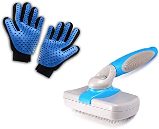 PACK Gants+Brosse Autonettoyante : Gants Brosse Toilettage Massage Chien Chat Lapin Fermeture SCRATCH pour meilleur AJUSTA...