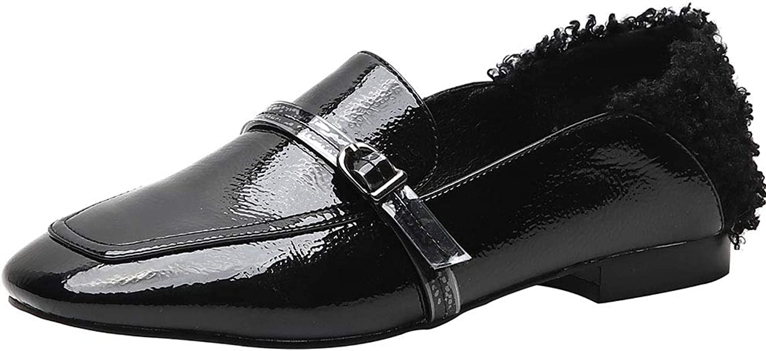 FANIMILA Fashion Loafers Women Square Toe Flats Slip On Office Dress Flats