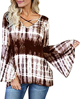 Women's Fashion Criss Cross V Neck Long Bell Flare Sleeve Tie Dye Shirt Top