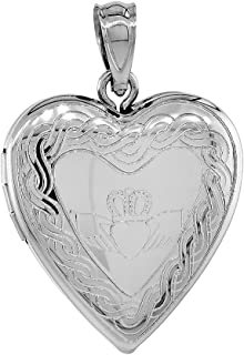 3/4 inch Sterling Silver Claddagh Locket Heart Shape Necklace Celtic Knot Motif, 16-20 inch
