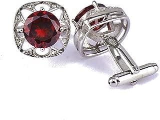 Aooaz Cufflinks Studs Cubic Zirconia Crown Cufflinks On Regular Dress Shirt Red