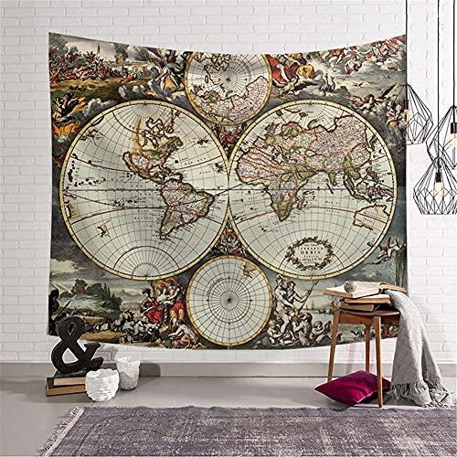 Tapiz de Pared Psicodélico,Mapa del mundo abstracto Tapiz,Tapices hippie,Tapiz grande,Tapices Indio,Tapices Decoración de Pared para Dormitorio Sala de Estar 150x130cm/59x51in