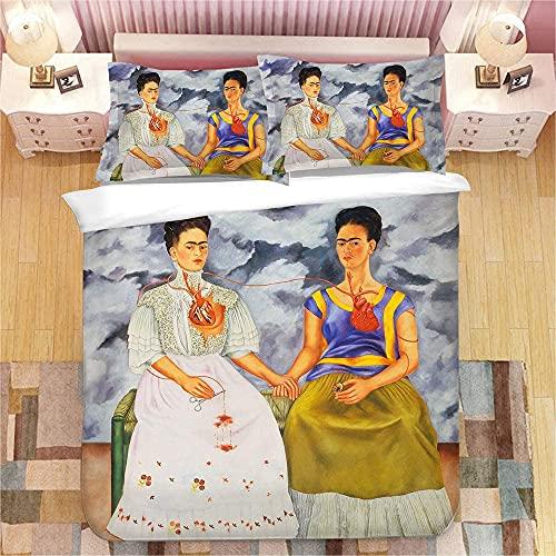 Amacigana Nya 2021, 3D-tryckt Frida Kahlo påslakan, kuddöverdrag, tvättat bomullsmaterial, nya teknikprodukter, mjuka och bekväma, (E,220 x 240 cm)