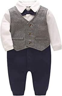 Fairy Baby Baby Tuxedo Suits Boys Formal Jumpsuit Gentleman Outfit One-Piece Romper Wedding Outfit