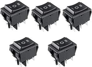 Aodesy 5Pcs 6 Terminal 3 Position Boat Rocker Switches Black DPDT 16A/250V AC 20A/125V ON/Off / ON